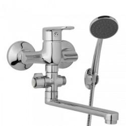 Nástěnná umyvadlová a sprchová baterie FINERY 100 mm, otočný přepínač, s příslušenstvím, ramínko 200 mm  F10 32 01