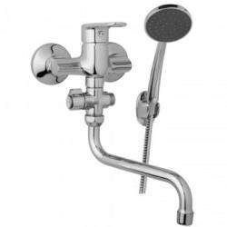 Nástěnná umyvadlová a sprchová baterie FINERY 100 mm, otočný přepínač,s příslušenstvím, trubkové ramínko 200 mm  F10 32 31