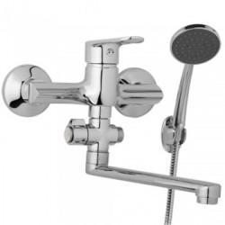 Nástěnná umyvadlová a sprchová baterie FINERY 150 mm, otočný přepínač, s příslušenstvím, ramínko 200 mm  F10 37 01